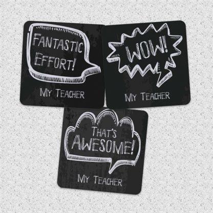 30mm chalkboard speech bubble stickers personalised name