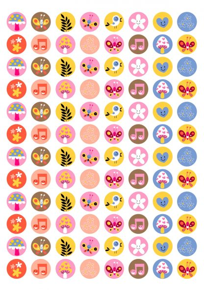 20mm round Cute forest theme 1