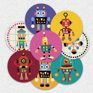 20mm round robot themed stickers