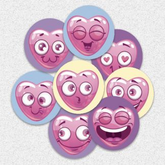 20mm heart emoji stickers