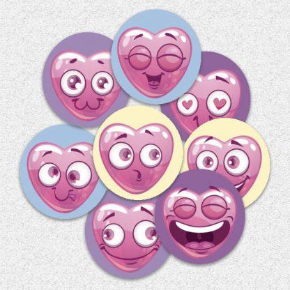 20mm heart emoji stickers