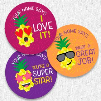 Round 30mm personalised Pineapple stickers