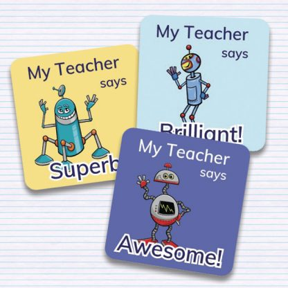 25mm square robot themed personalised merit stickers for teachers