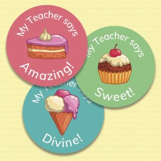 25 mm round personalised dessert stickers