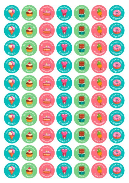 25 mm round personalised dessert stickers