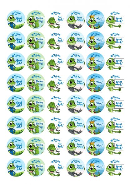 30mm round Personalised frog theme stickers
