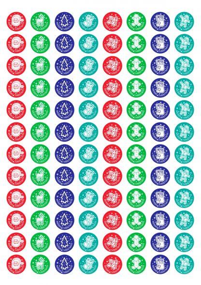 20mm round Christmas theme stickers