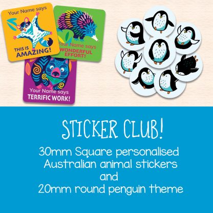 Teacher Stickers Sticker Club December-January. Personalised Australian Animal theme stickers and penguin theme stickers.