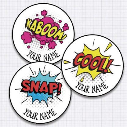 25mm Round comic speech bubble stickers