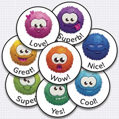 20mm round monster smiley stickers