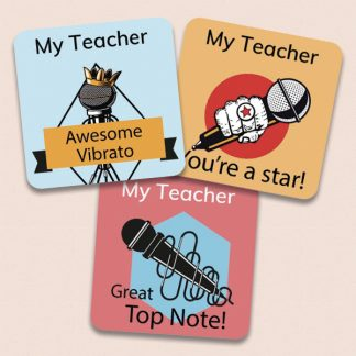 25mm Square singing stickers with personalised name