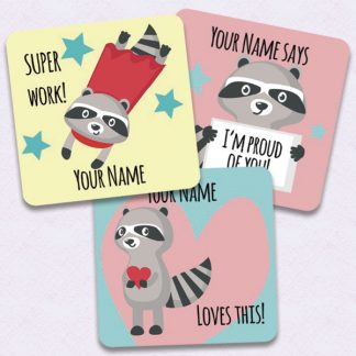 Personalised 30mm square Raccoon theme stickers