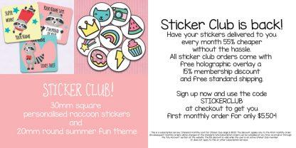 Sticker club January and February 2020