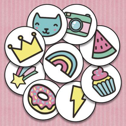 20mm round summer fun themed reward stickers