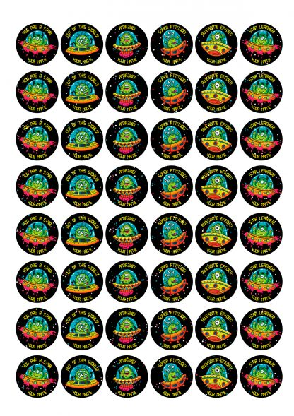 30mm round personalised alien stickers